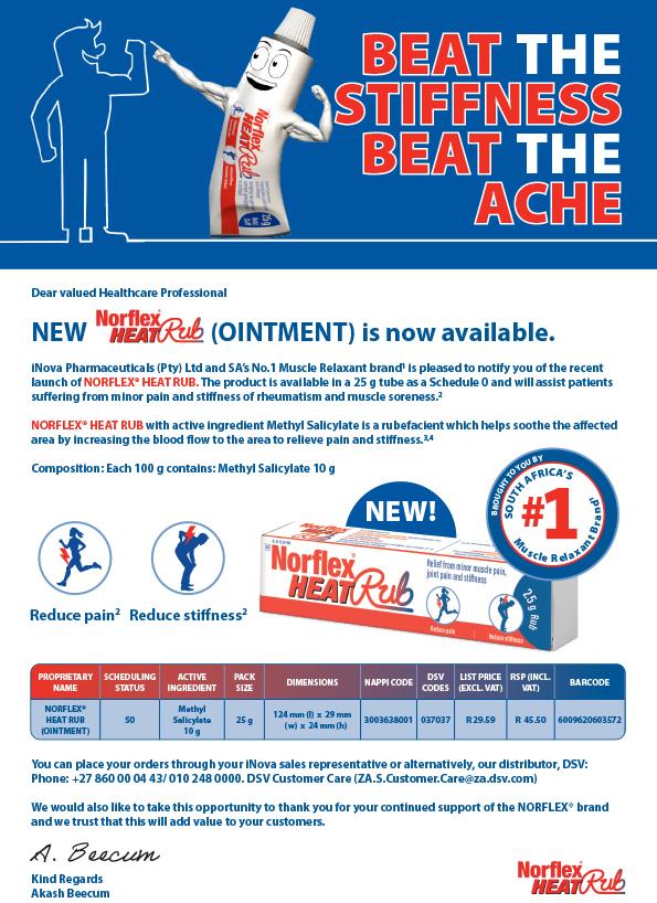iNova Pharmaceuticals has launched Norflex Heat Rub